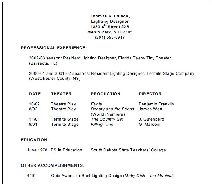 Stagehand Resume Examples: 89+ Theatre Technical Theatre Stage Lighting